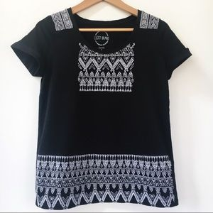 LUCKY BRAND Embroidered Aztec Tribal Tee Shirt S